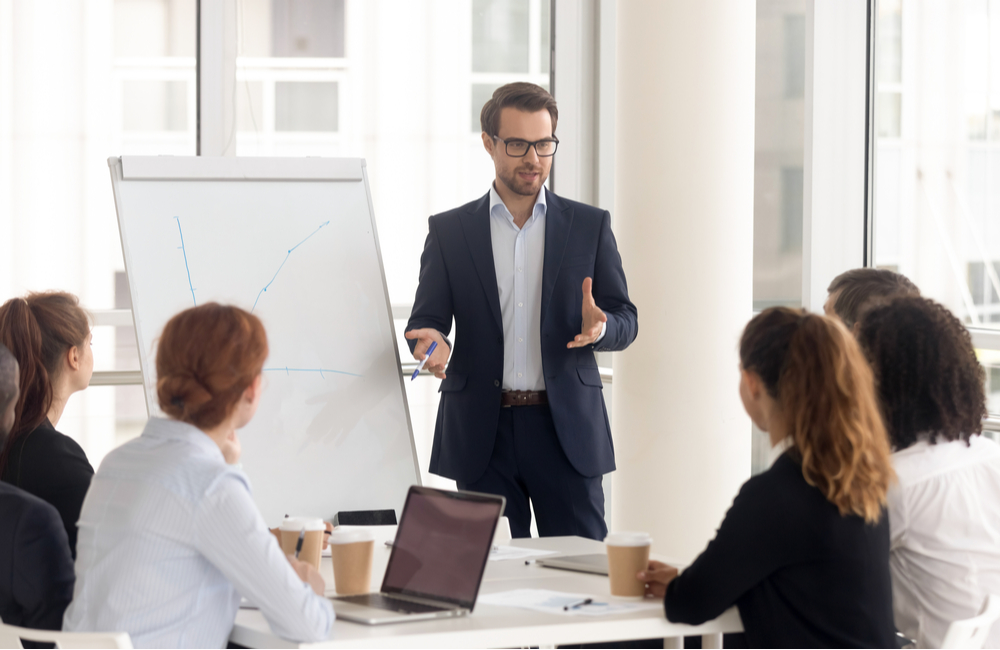 A specialist leads a training and development program for employees